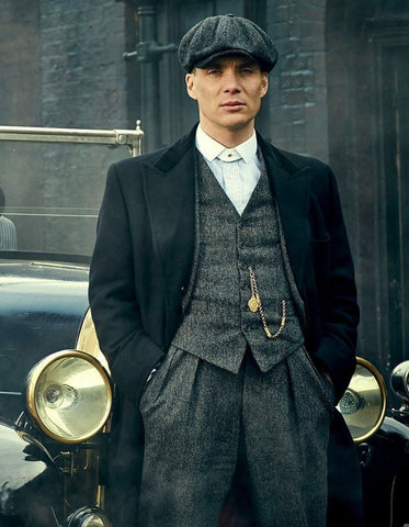 Mens Peaky Blinders Thomas Shelby Grey 3 Piece Suit with Black Overcoat & Hat