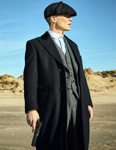 Mens Peaky Blinders Thomas Shelby Grey Vested Suit with Black Overcoat & Hat