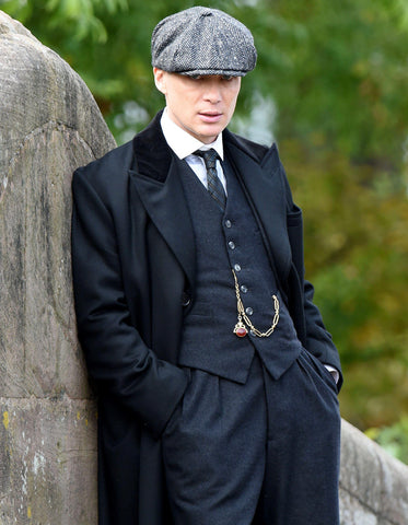 Mens Peaky Blinders Thomas Shelby Black Suit Overcoat & Hat