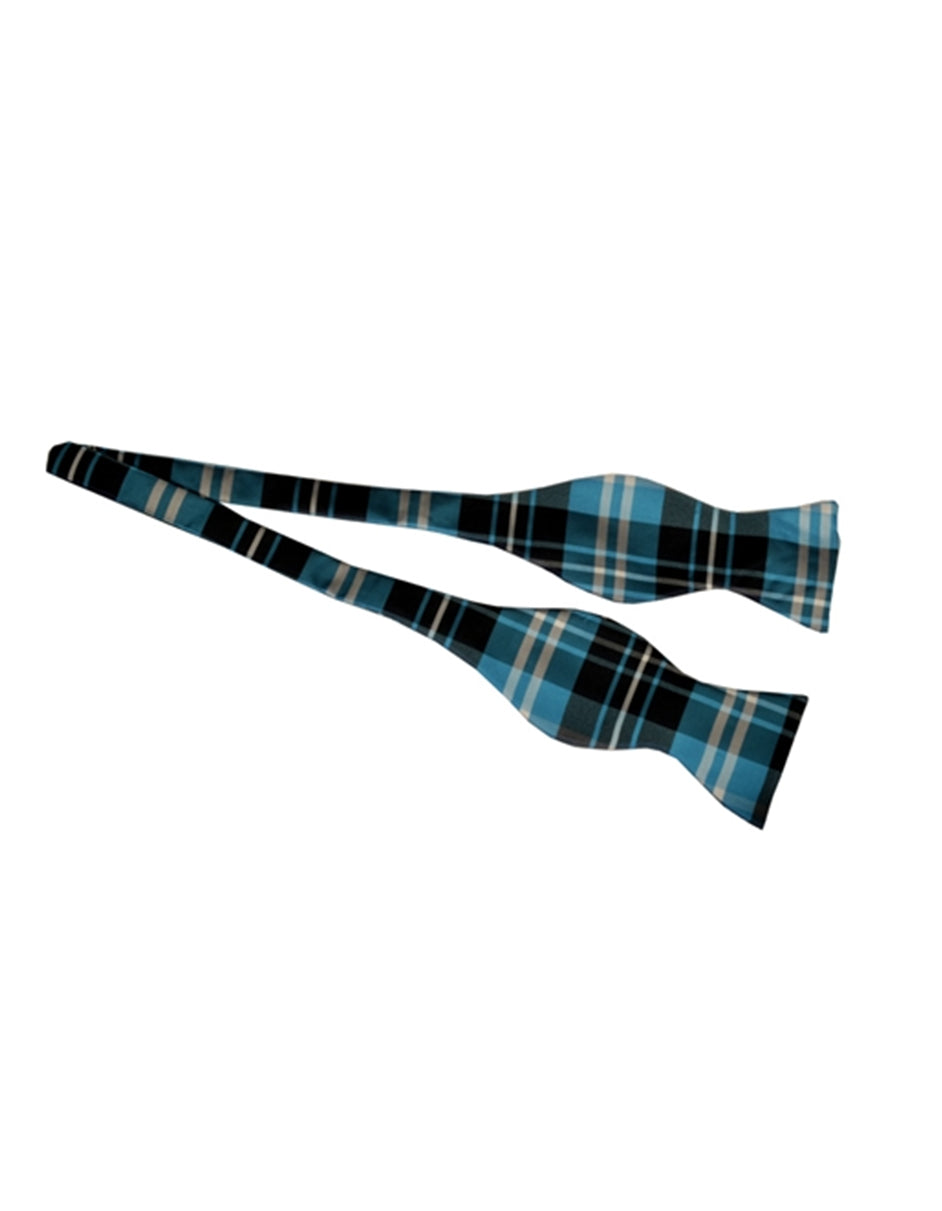 Aqua Plaid Self-Tie Bow Tie