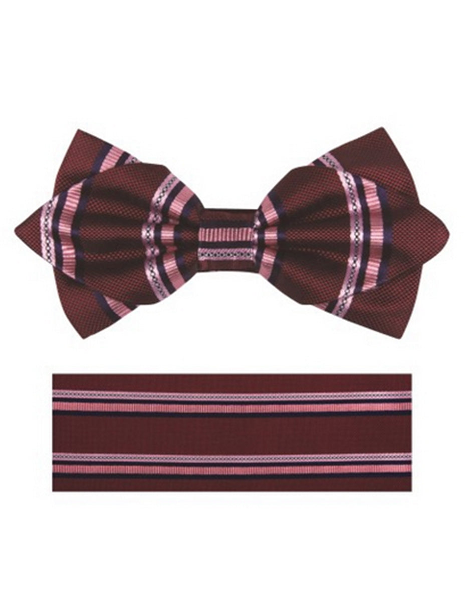 Plum Stripe Bow Tie Set