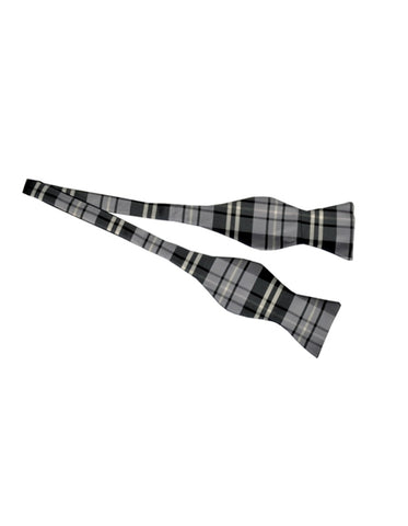 Grey Plaid Self-Tie Bow Tie