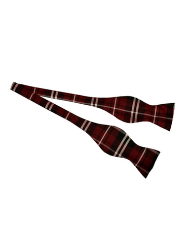 Burgundy Plaid Self Tie Bow Tie