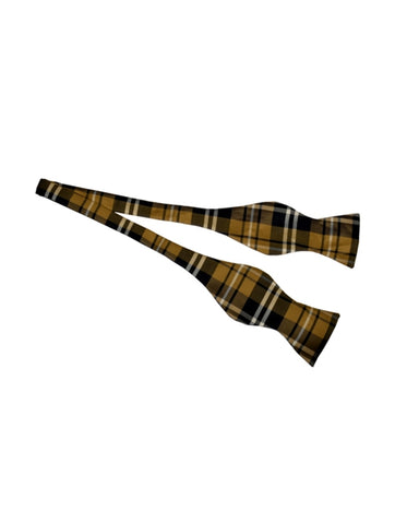 Yellow Plaid Self Tie Bow Tie