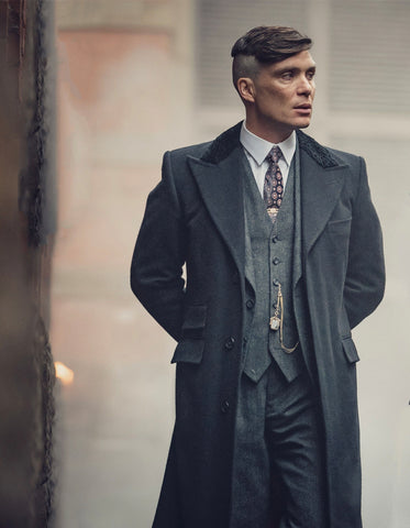 Mens Peaky Blinders Thomas Shelby 3PC Suit & Black Overcoat