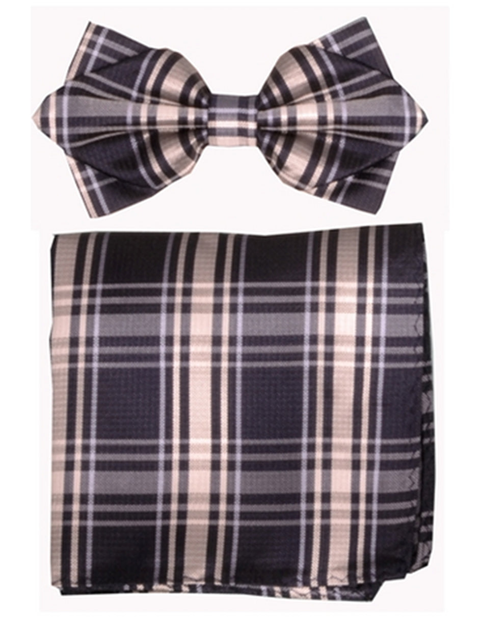 Black Plaid Bow Tie Set
