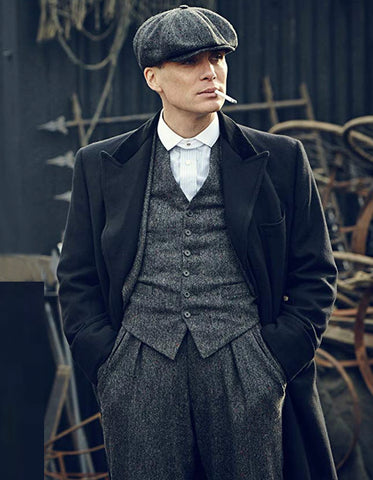 Mens Peaky Blinders Thomas Shelby Grey Herringbone Outfit