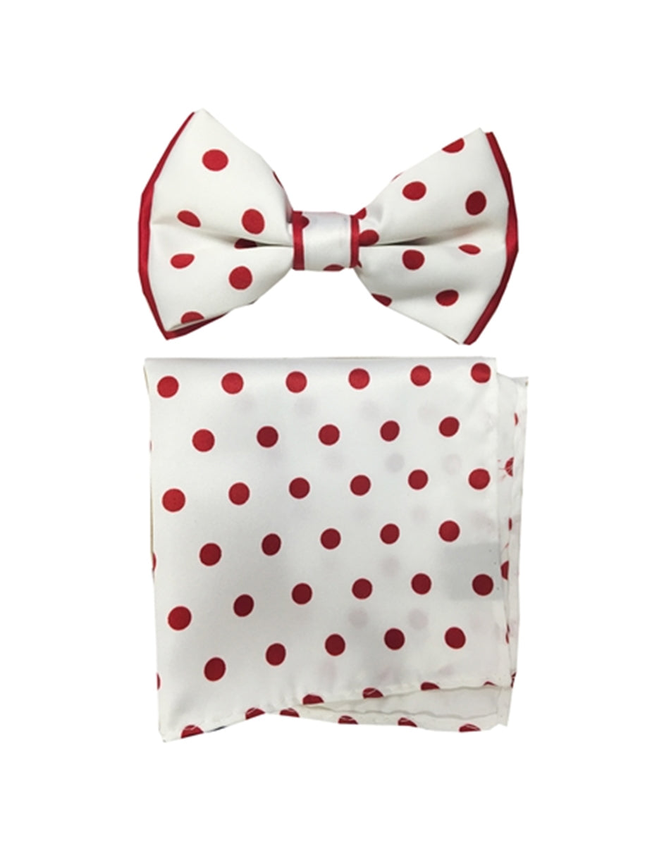 White & Red Polka Dot Bow Tie Set