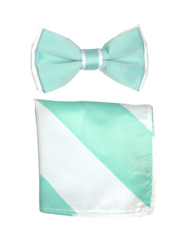 Mint Green & White Bow Tie Set