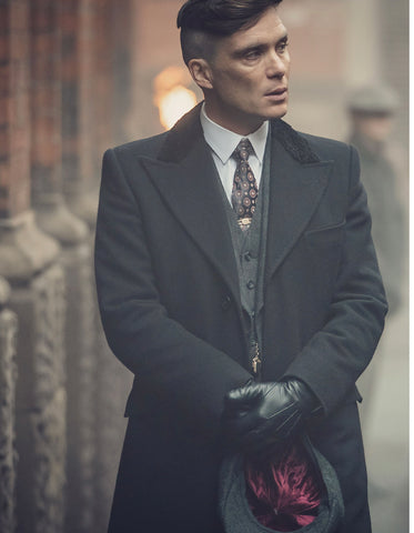 Mens Peaky Blinders Thomas Shelby Vested Suit & Black Overcoat