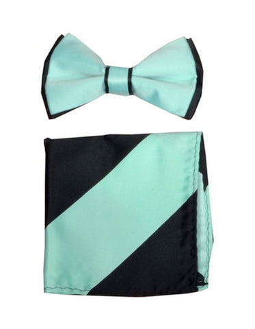 Mint Green & Black Bow Tie Set