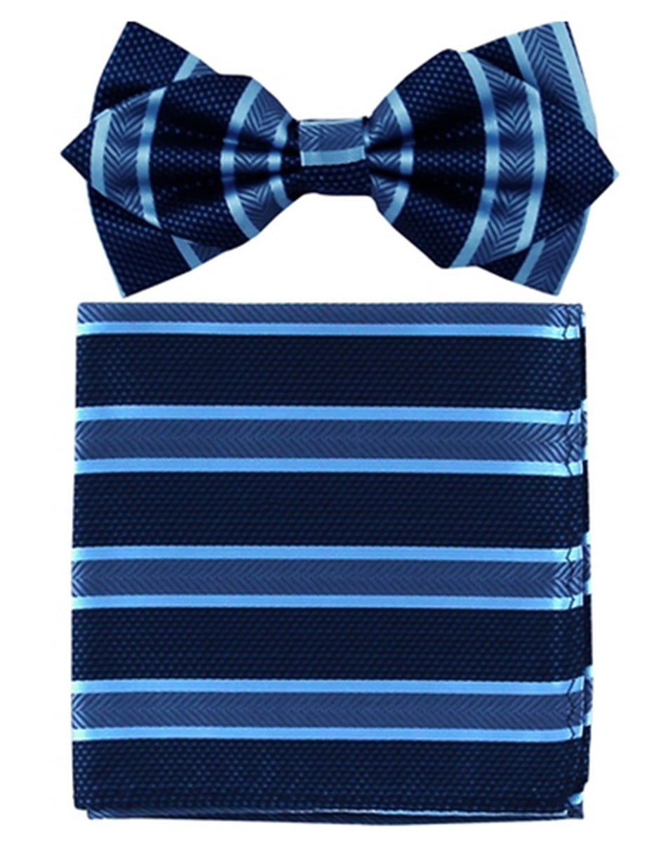 Navy Stripe Bow Tie Set