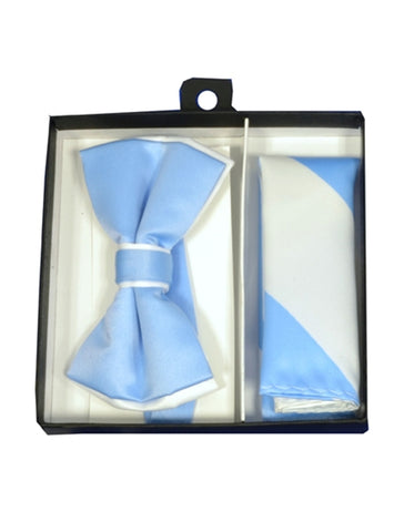 Sky Blue & White Bow Tie Set