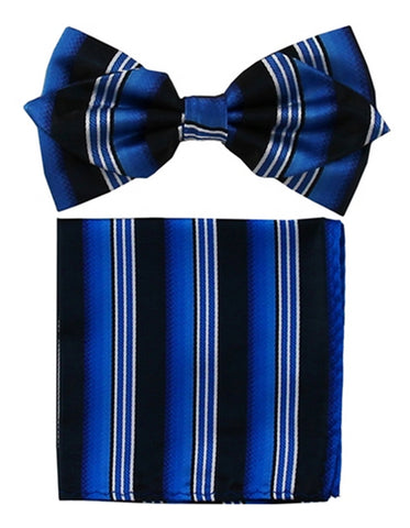 Royal Blue & Black Bow Tie Set