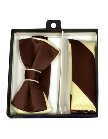 Brown & Cream Bow Tie Set