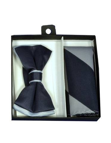 Black & Silver Bow Tie Set