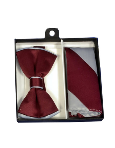 Burgundy & Silver Bow Tie Set