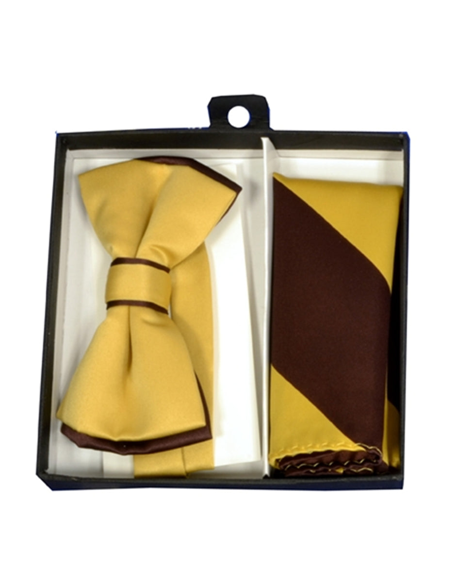 Yellow & Brown Bow Tie Set