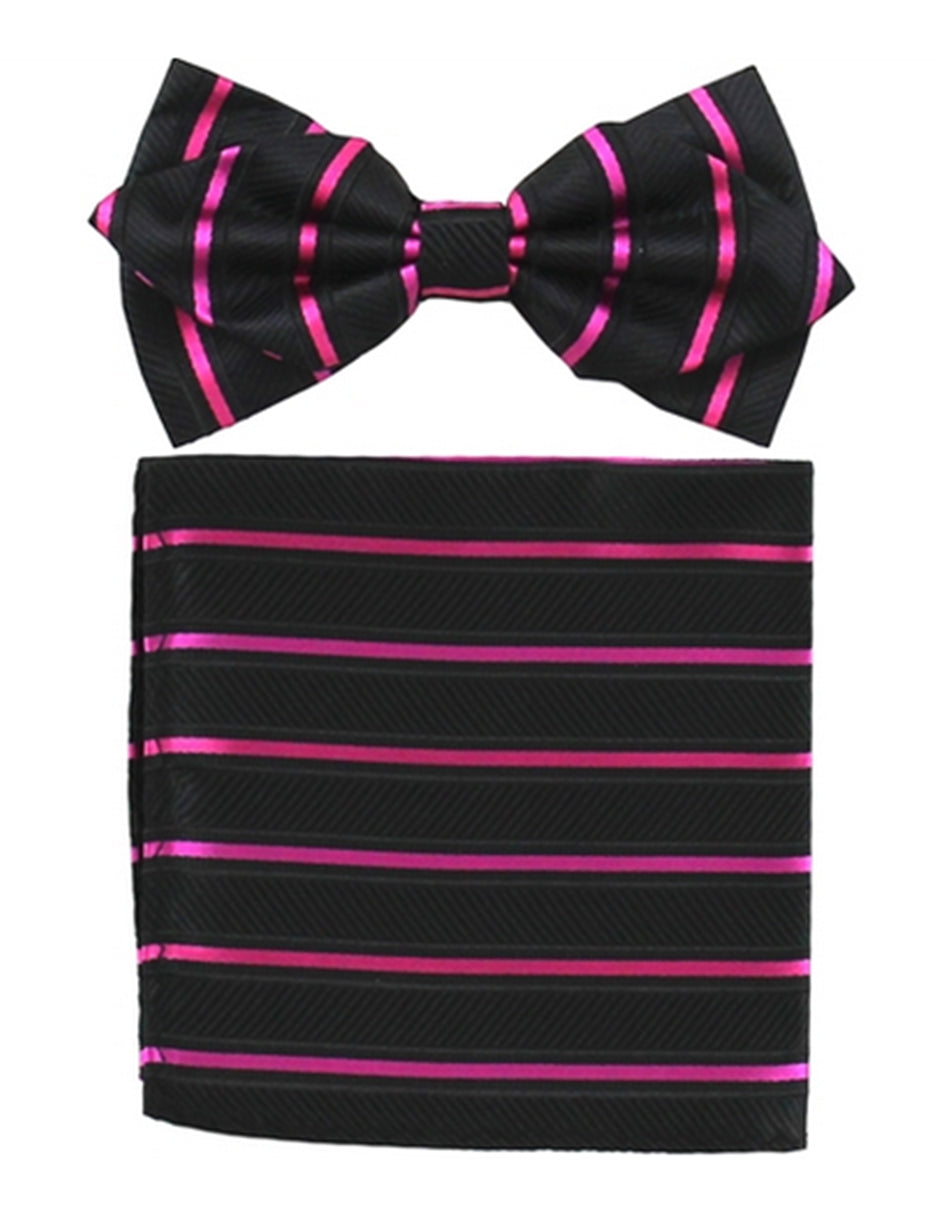 Black & Hot Pink Bow Tie Set