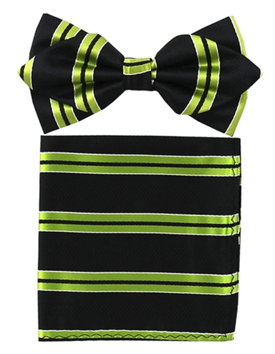 Bright Green Stripe Bow Tie Set
