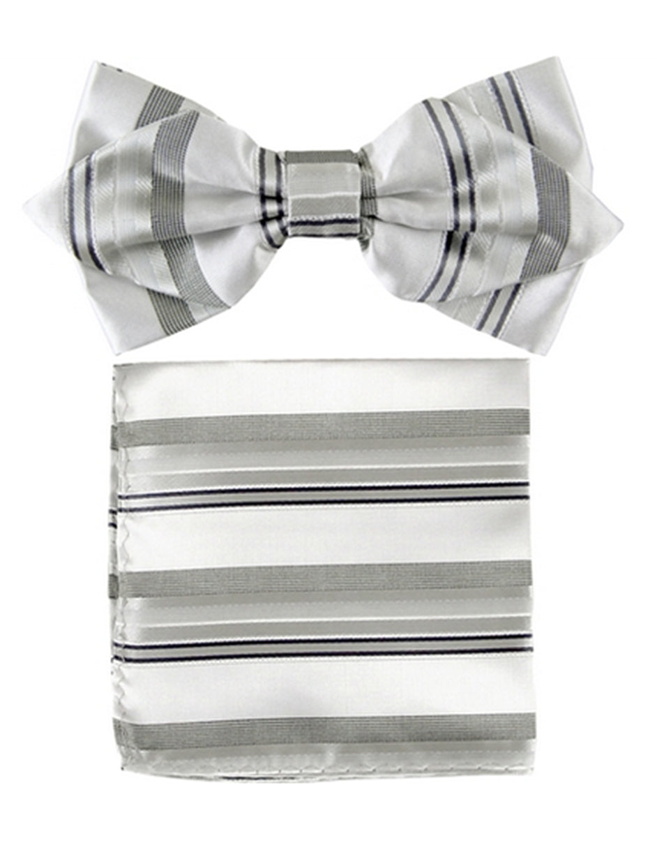 Silver Stripe Bow Tie Set