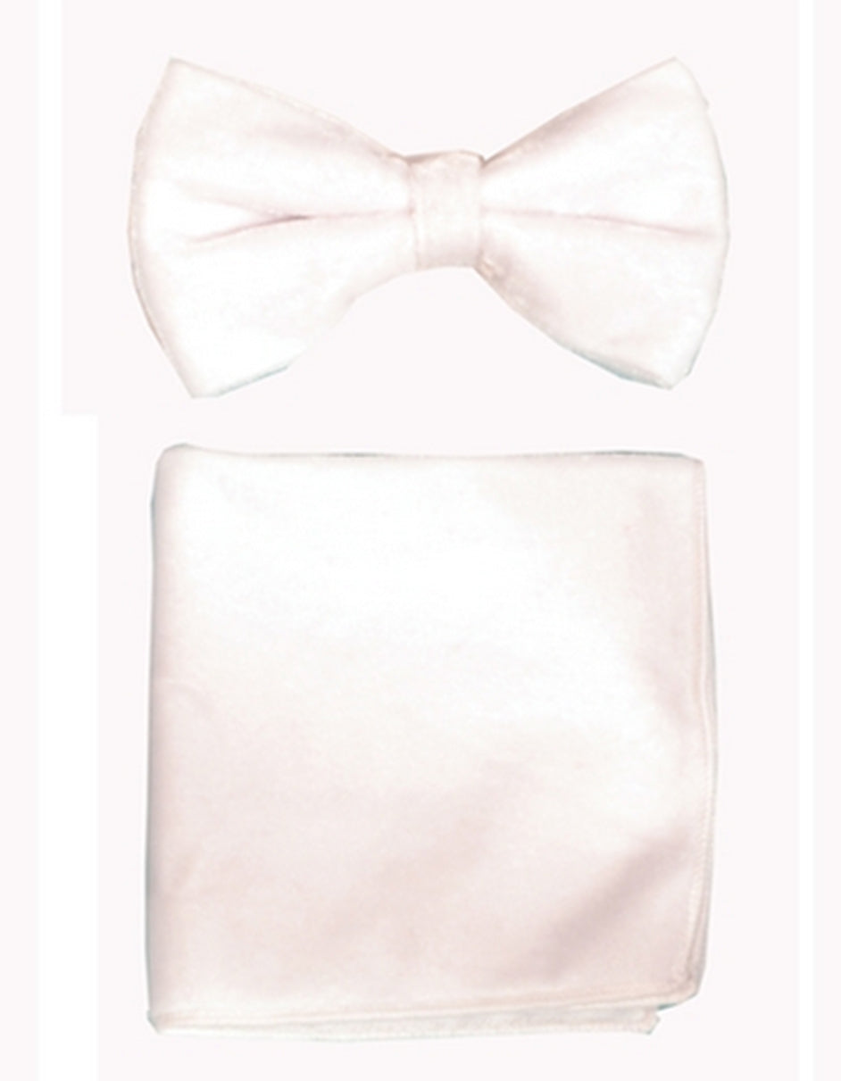 White Velvet Bow Tie Set