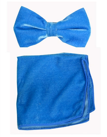 Royal Blue Velvet Bow Tie Set