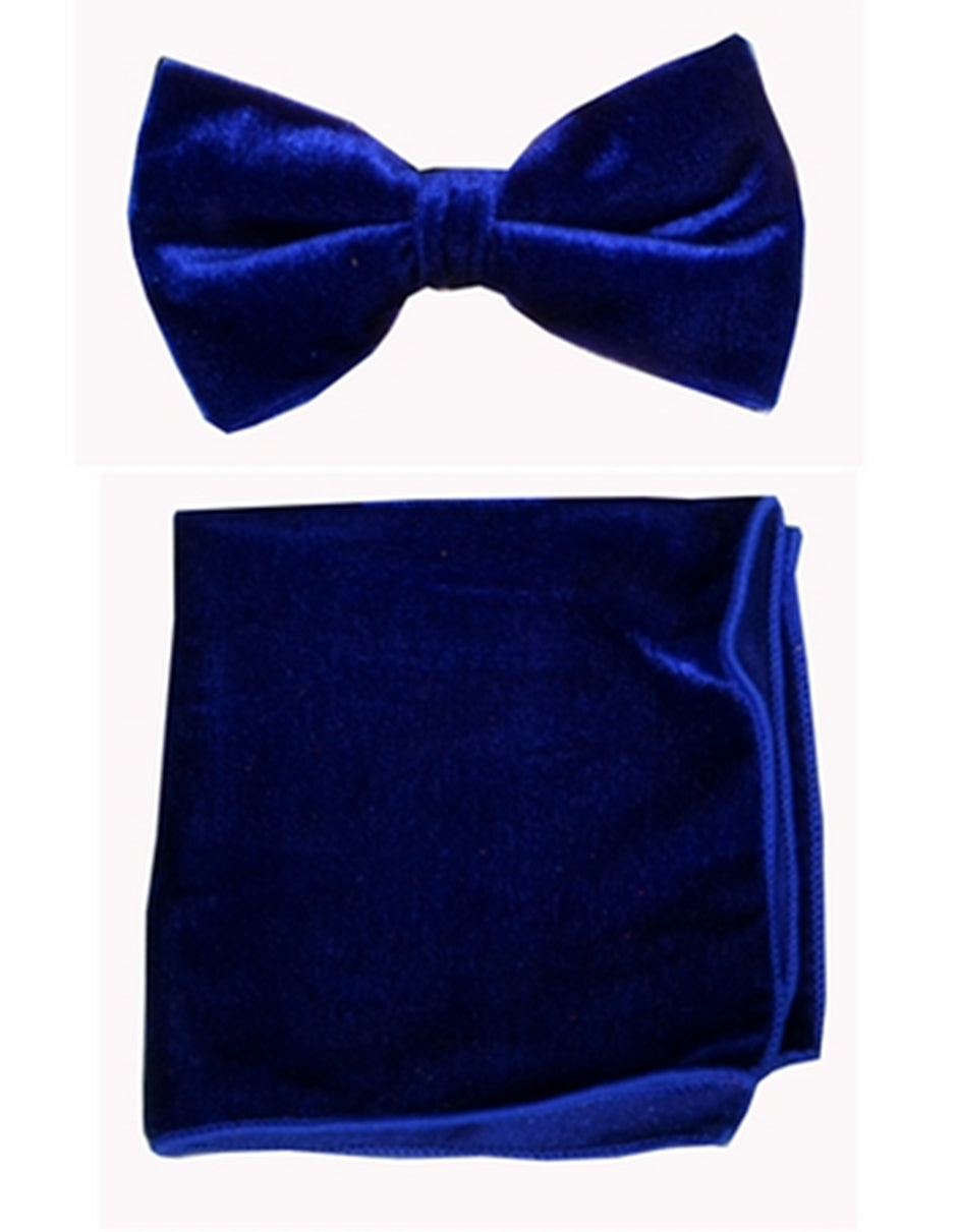 Navy Blue  Velvet Bow Tie Set