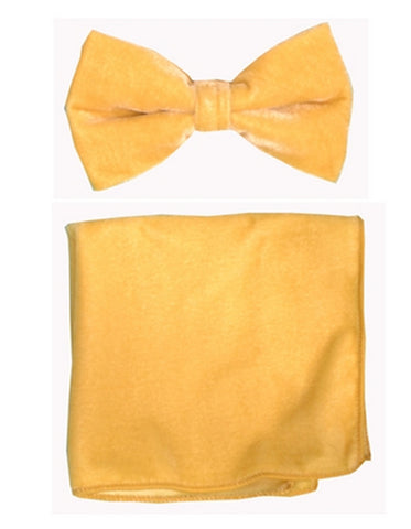 Gold Velvet Bow Tie Set