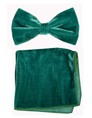 Green Velvet Bow Tie Set