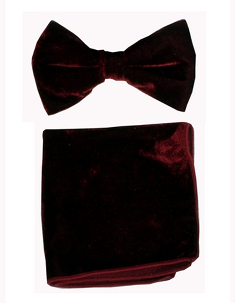 Brown Velvet Bow Tie Set