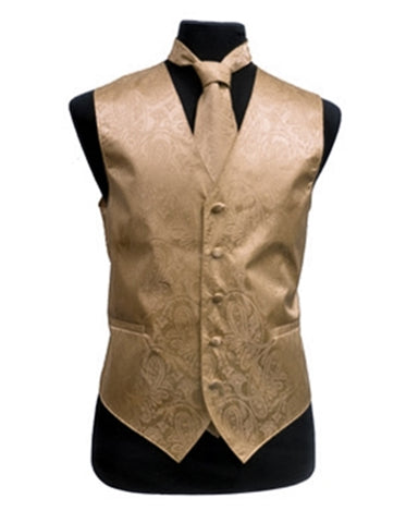 Gold Paisley Vest Set