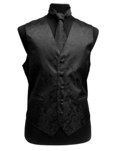 Black Paisley Vest Set
