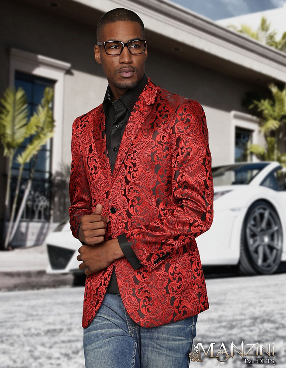 Black & Red Paisley Blazer