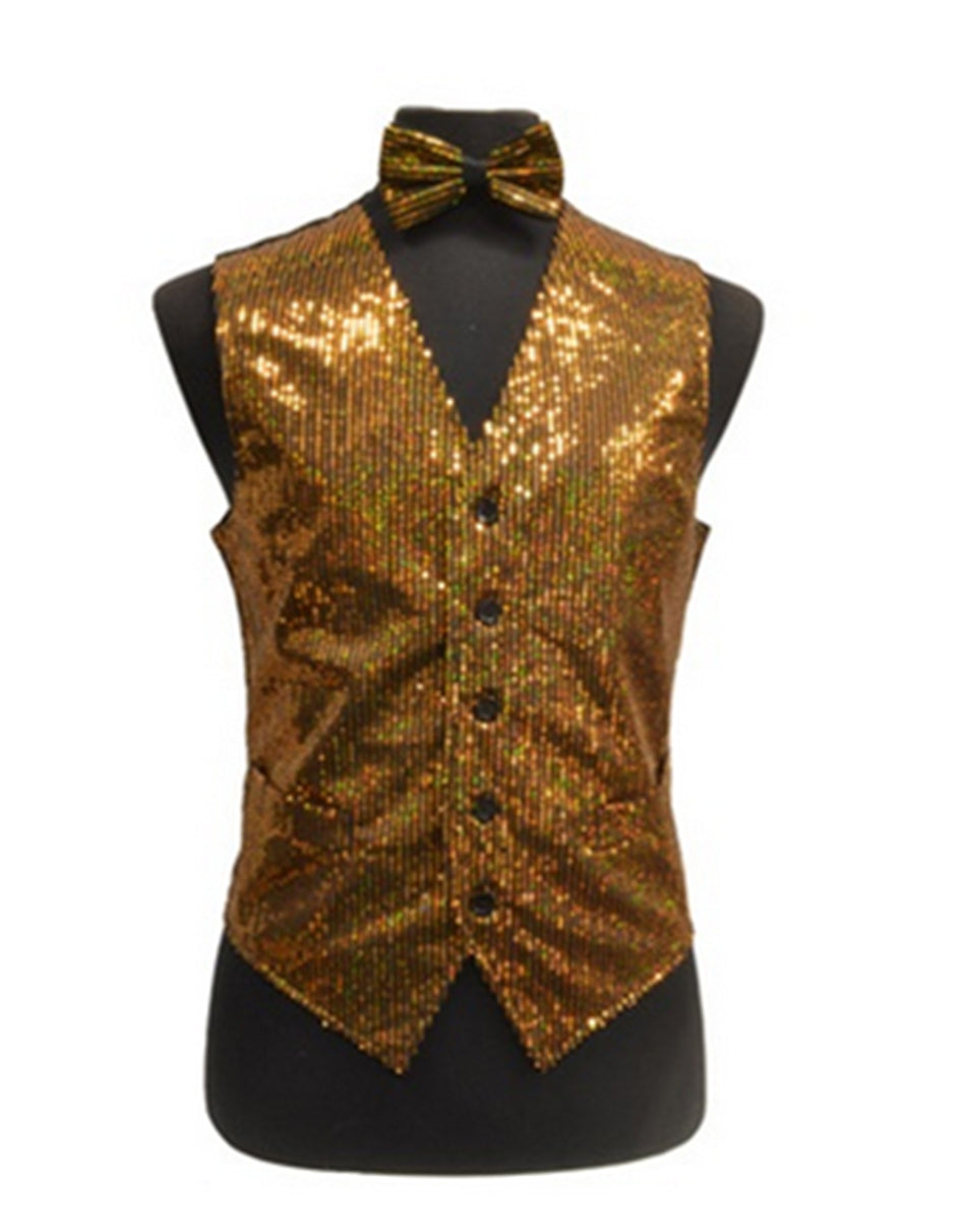 Gold Sequin Vest Set
