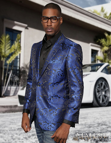 Royal Blue & Black Paisley Blazer