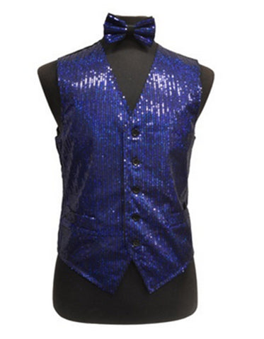 Royal Blue Sequin Vest Set