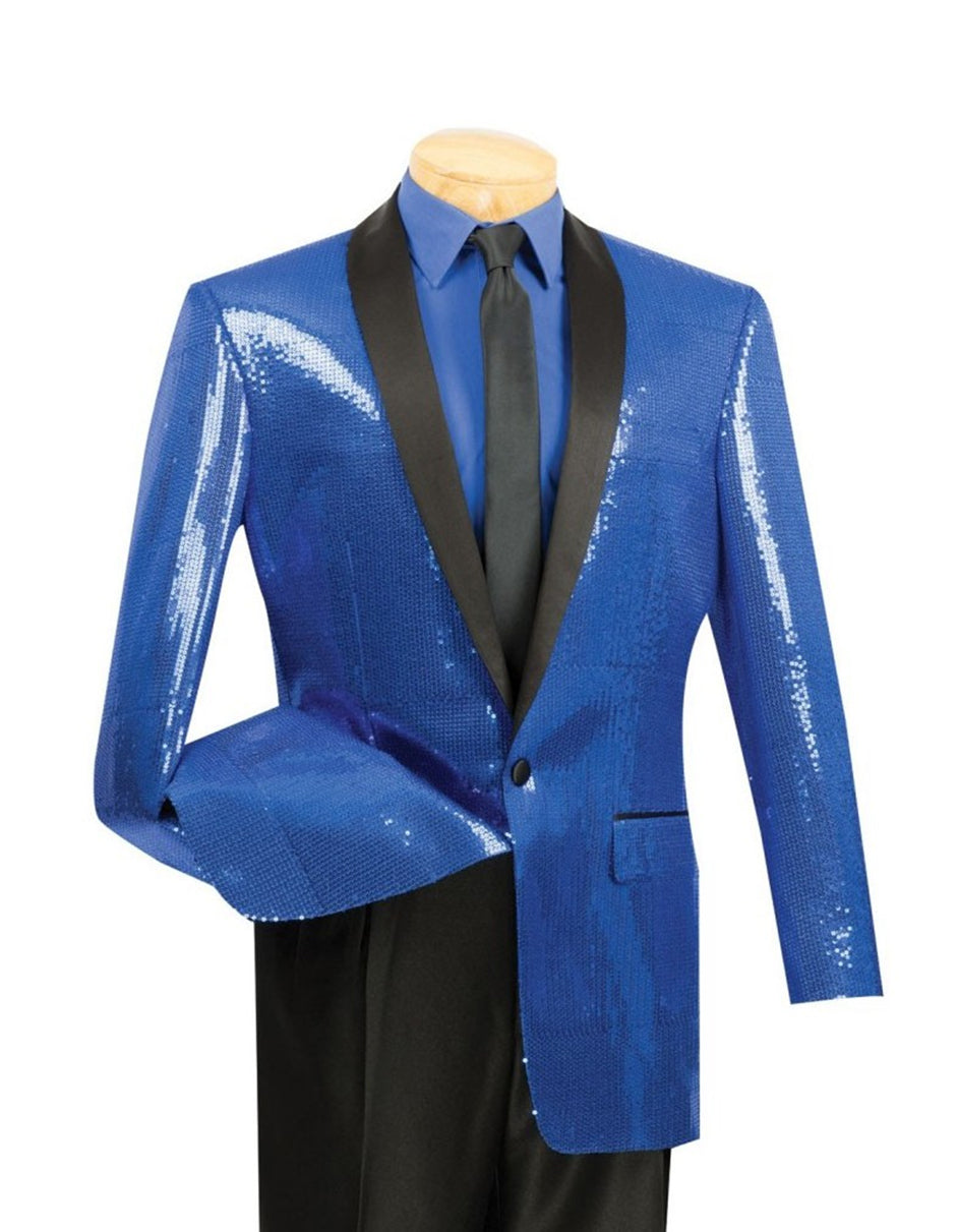 Mens Royal Blue Sequin Tuxedo Blazer