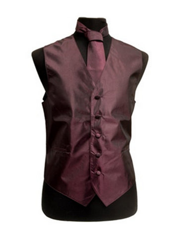 Solid Burgundy Vest Set