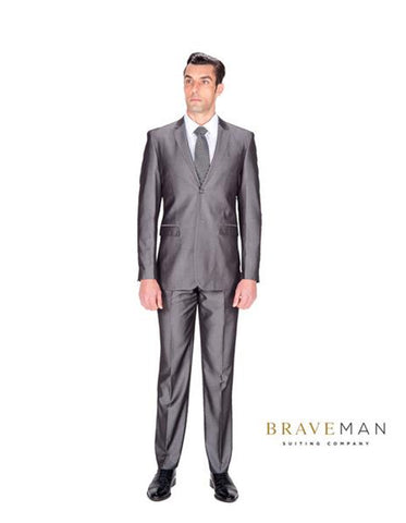 Grey Sharkskin Wedding Suit