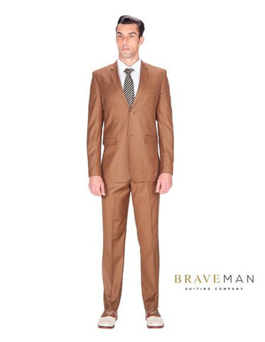 Cognac Slim Wedding Suit