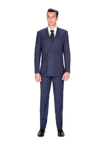 Double Breasted Navy Stripe Suit