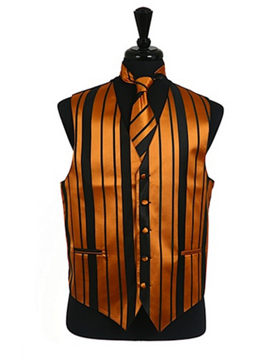 Orange Stripe Vest Set