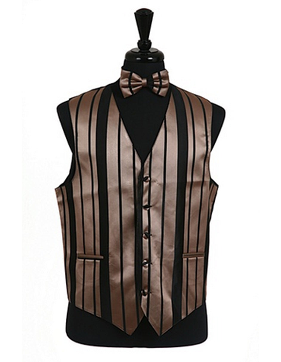 Mocha Stripe Vest Set