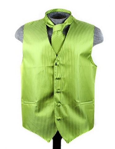 Green Tonal Stripe Vest Set