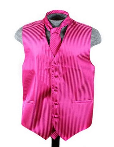 Hot Pink Tonal Stripe Vest Set