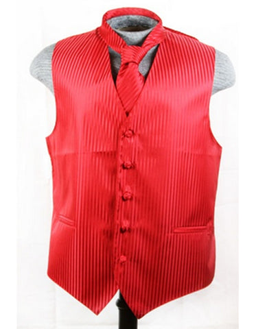 Red Tonal Stripe Vest Set