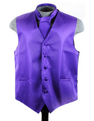 Purple Tonal Stripe Vest Set