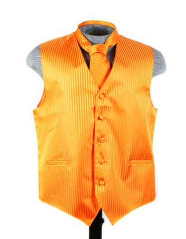 Orange Tonal Stripe Vest Set