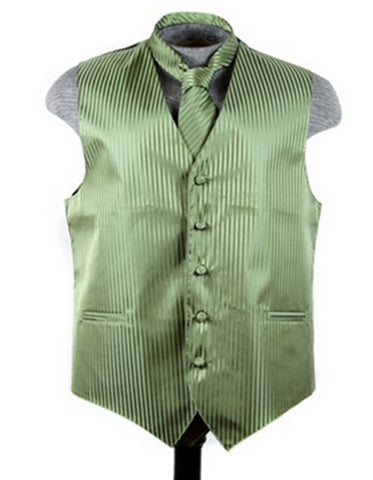 Olive Green Tonal Stripe Vest Set